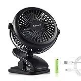 Clip Fan Mini USB Ventilator Tischventilator mit Batteriebetrieben 3 Geschwindigkeit und 360 Grad Drehung Personal Fan zum Schreibtisch, Rollstuhl, Schlafzimmer, Camping, Zuhause, Büro(Schwarz)