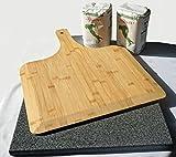XXL Pizza-Set - Pizzastein aus Granit + Bambus Pizzaschieber + 2kg Pizzamehl