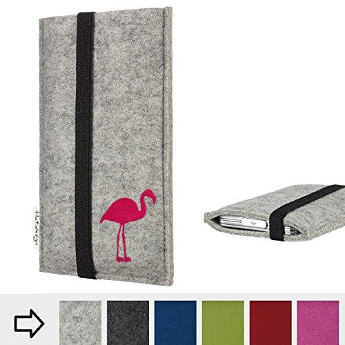 Handytasche COIMBRA mit Flamingo und Gummiband-Verschluss für Motorola Moto G6 Play - Schutz Case Etui Filz Made in Germany in hellgrau schwarz pink - passgenaue Handy Hülle für Motorola Moto G6 Play
