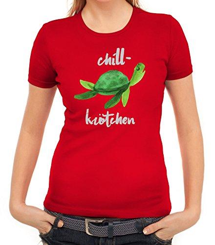Turtle Schildkröte Damen T-Shirt mit Chillkrötchen 2 Motiv von ShirtStreet Rot
