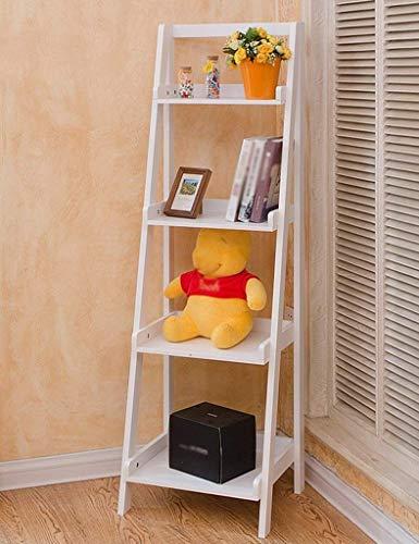 Corner Storage Unit (Stehendes Wohnzimmer Bücherregale Leiter-Shaped Corner Shelf Blumenregal TV Wandregale Multilayer Schließfächer Home Storage Unit Ausstellungsstand Farbe Optional, 44 * 36 * 140cm (Farbe: Weiß))