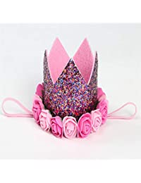 JING Banda para el Cabello Rosa Corona Infantil Banda para el Cabello Fiesta de cumpleaños del bebé Rendimiento de la Foto Sombreros aplicables