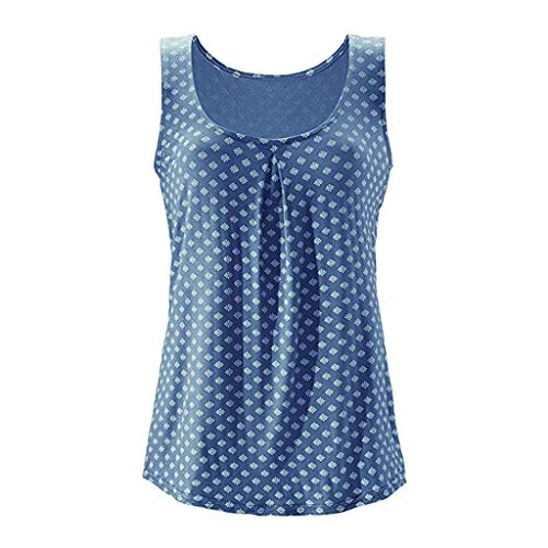 kolila Damen Top Ärmellos Sommer Oberteil Tank Top mit Allover-Minimal Print Lässiges Baumwolle Shirt Basic Tee - Skipper Tee