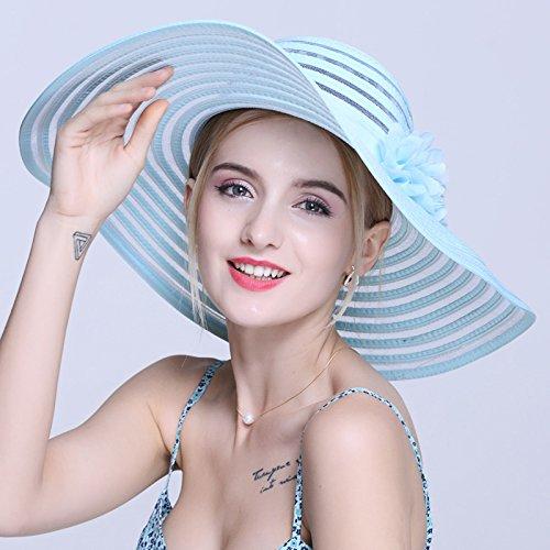Le long de la visière, maximum de l'écran solaire femelle hat escapades d'été Beach Resort Stetson cool summer beach cap peut être plié, M (56-58cm) gris M (56-58cm) Bleu