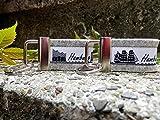 2 Schlüsselanhänger Taschenanhänger Wollfilz hellgrau für Sie und Ihn NEU Hamburg Skyline weiß schwarz !