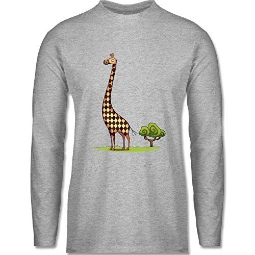 Wildnis - Lange Giraffe - Longsleeve / langärmeliges T-Shirt für Herren Grau Meliert