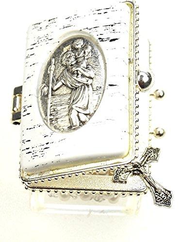 Ars-Bavaria Zur ersten heiligen Kommunion, zur Taufe, zur Hochzeit Rosenkranz schimmernde Perlen im Christopherus Döschen
