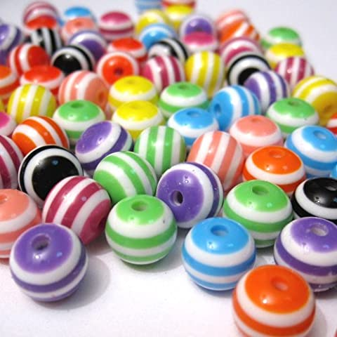 Pack of 100 Small Mixed Striped Round Resin Beads 6mm, hole 1.5mm