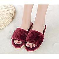 ZZHH Slippers Ragazze confinate MOP il piano skid della famiglia coppia cotone pantofole di peluche peluche pantofole . wine red . 37