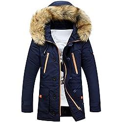 Brinny Homme Hiver Long Manteau à Capuche Col de Fourrure Épaisse Chaud Hoodies Parka Blouson Pardessus Duvet Coton Veste, Bleu Foncé - S