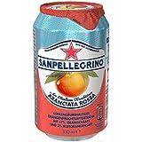 San Pellegrino Aranciata Rossa Blutorangen Limonade (Blutorangen und Sprudelndes Mineralwasser, Erfrischungsgetränk aus Italien, Einweg Limo Dosen) 24er Pack (24 x 0,33 Liter)