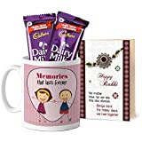 Tied Ribbons Rakhi Sister Gifts, Gifts For Rakhi For Sister Printed Coffee Mug With Dairy Milk Chocolates And...