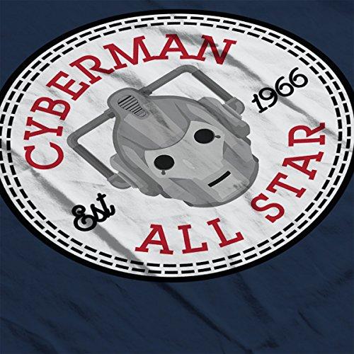 Cyberman Doctor Who All Star Converse Logo Women's T-Shirt Navy Blue
