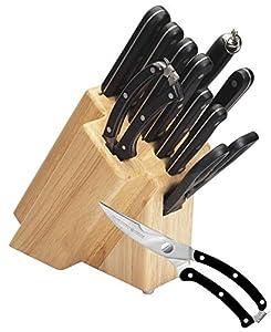 Lot de 11Bloc Couteaux et couteaux Set Couteau de cuisine set couteau de cuisine set (acier inoxydable + ciseaux de cuisine, ciseaux à volaille et aiguiseur)