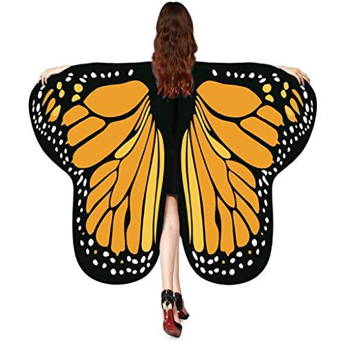 Frauen 175 * 125CM Weiche Gewebe Schmetterlings Flügel Schal feenhafte Nymphe Pixie Halloween Cosplay Weihnachten Cosplay Kostüm Zusatz ,Damen Zubehör Umhang Mit Schlaufen 2019 Neue (One size, J) (2019 Damen Halloween-kostüme Neue Für)
