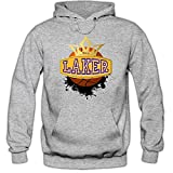 I'm a Laker #1 Hoodie Basketball Hoodies Streetball USA Kapuzenpullover, Farbe:Graumeliert (Greymelange F421);Größe:L
