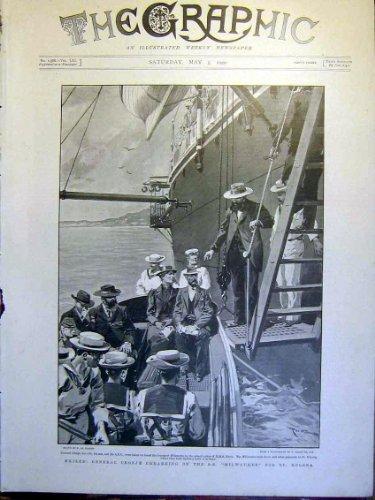 old-original-antique-victorian-print-general-cronje-ss-milwaukee-de-haenen-boer-war-1900-34mbb0