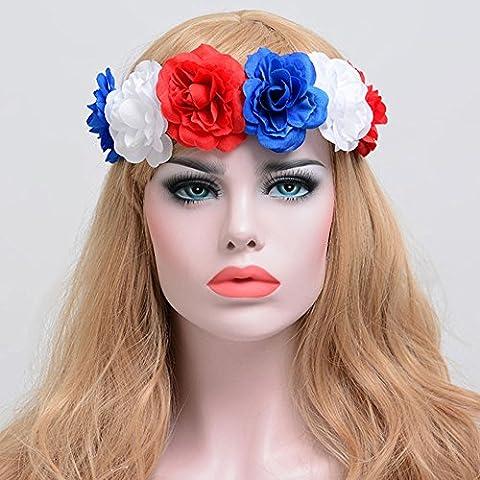 Künstliche Rose Floral Haarband tianranrt Künstliche Fake Blumenkranz Blumen Rose Damen Haarband Girlande Krone Haarband rot, blau