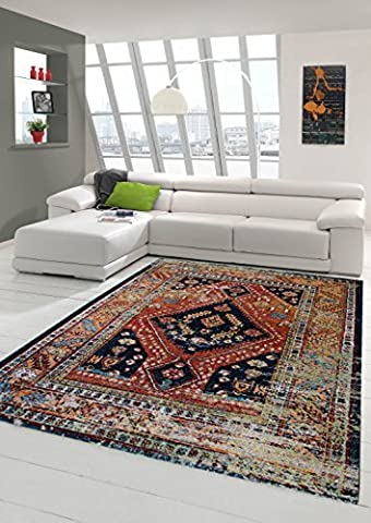 Moderner Teppich Designer Teppich Orientteppich Wohnzimmer Teppich mit Klassisch Orientalischen Muster in Schwarz Rot Beige Türkis Bunt Größe 200 x 290 cm