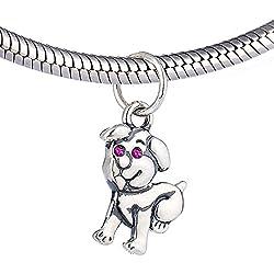 Pandora compatible charm de plata de ley - Perro con la CZ roja de piedra ojos