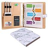 Aktenmappe für Briefe / A4-Papier, aufklappbarer Ordner für Dokumente, Visitenkartenhalter und 8Dokumenten-Taschen, Marmor-Muster White Marble