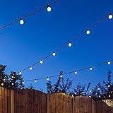 8m Innen/Außen Party Lichterkette, erweiterbar, 20 LEDs warmweiß, Kabel schwarz, von Festive Lights