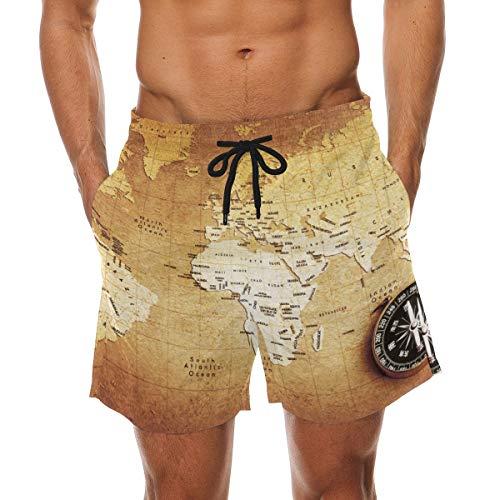 BHWYK Men's Compass On Treasure Map Beach Board Shorts Quick Dry Swim Trunkfor Summer Vacations M-XXL Code(L) Treasure Beach Pants