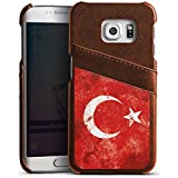 Samsung Galaxy S6 Edge Lederhülle Leder Case mit Schlitz für Kreditkarte Brieftaschen Cover Türkiye Türkei Flagge
