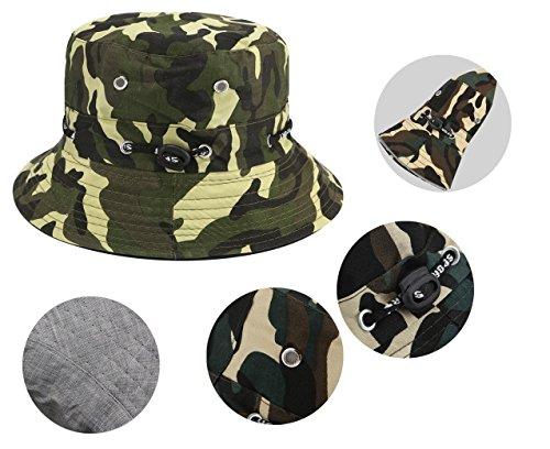 Imagen de bllomsem sombrero de pescador verano algodón safari senderismo sombrero de cubo al aire libre sol triturable  ajustable camuflaje alternativa