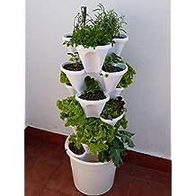Ecogarden Irisana 72.EG10.B - Huerto vertical hidropónico, 34 x 34 x 120 cm, color blanco