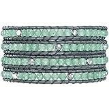 Rafaela Donata Damen-Armband Leather Collection Leder dunkelblau Aventurinquartz grün  Glaskristall silberfarben 60831017
