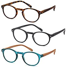 GAMMA RAY READERS Multiple Pairs of P3 Style Retro Round Readers Quality Spring Hinge Reading Glasses for Men and Women by Gamma Ray Optics