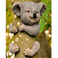 garden mile® Novelty Koala Bear Garden Tree Peeker Hugger Statue Resin Animal Ornament Sculptures For Tree Branch Garden Yard Art Fence Outdoor Indoor Weather Resistant Decoration