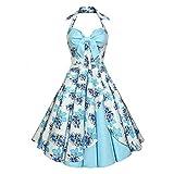 CharMma Women's Vintage Halter Rockabilly Swing Floral Print Tea Cocktail Dress (Small, Light Blue)