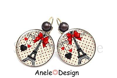 Boucles d'oreilles tour Eiffel * Paris guinguette * cœur rouge rétro nœud rouge noir