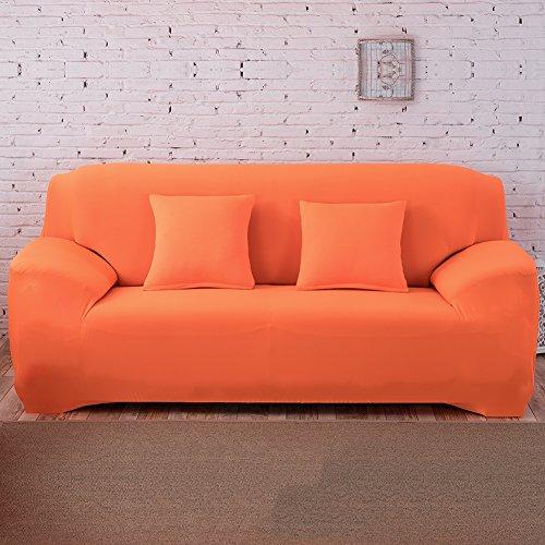 Hotniu copridivano elasticizzato, fodera per divano universale, sofa mobili copertura protettore antiscivolo, ideale per poltrone, divani a 2 3 4 posti (3 posti per 195-230cm,arancione)