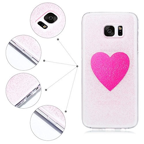 Cover Galaxy S7 Edge (5.5 pollici) Spiritsun iPhone Custodia TPU Moda Elegante Case Cover Soft Silicone Back Cover Protezione Bumper Funzione Shell Morbida Flessible TPU Bling Bling Cover Per Samsung  Cuore