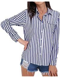 StyleDome Blusa Camisa Mujer Mangas Largas Elegante Algodón Playa Oficina Rayas Camisetas