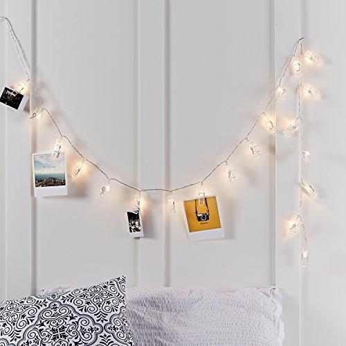 Preisvergleich Produktbild 20er LED Wäscheklammer Foto Lichterkette warmweiß batteriebetrieben Timer Lights4fun
