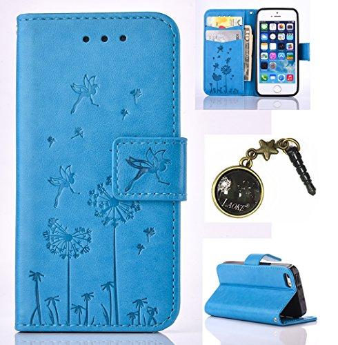 Case pour la Apple iPhone 5 / 5s / SE Coque,pissenlit Étui en PU Cuir Phone Case Cover Couverture Fonction Support avec Fermeture Aimantée de Feuille Motif Imprimé+Bouchons de poussière (3HR) 8