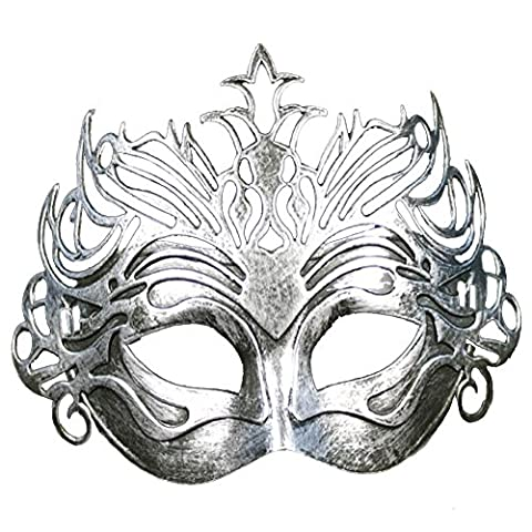 Petalum Unisex Ball Masken Vintage Römische Maskerade Halbes Gesicht Maske Halloween Party Ball (Silber)