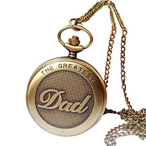 Uhren für Männer Wasserdicht Männer Edelstahl Business Armbanduhr LED wasserdichter Weinlese-Kettenretro- Die größte Taschenuhr-Halskette für Großvater-Vati-Geschenke (Yellow)