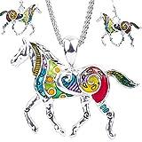 Veuer Süßes Pferde Schmuck-Set für Frauen Hals-kette und Ohrringe mit Pferd Tier-Anhänger Silber / Bunt Geschenk zu Weihnachten für Frauen , Freundin , Ehe-Frau