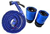 Expandable Garden Hose 100ft - Magic Water Hose Pipe + Fast Connector for Gardening, Car Washing, House Cleaning Blue, Non Kink Hose, Spray Gun & Quick release Universal connectors 25ft, 50ft, 75ft, 100ft