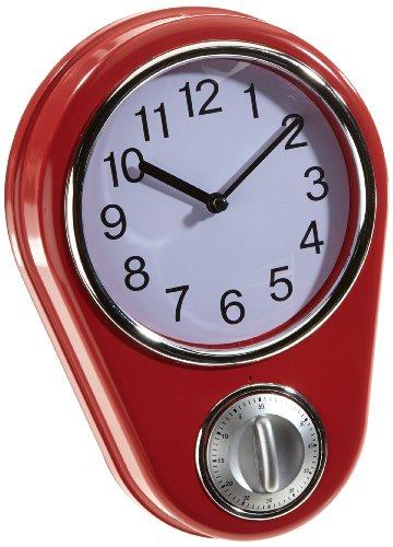 Rot Timer (TV - Unser Original 04191 Maxxcuisine 50s Retro Kitchen Style Küchenuhr mit Timer, rot)