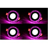 Decorative LED Light, Jelly Type Round Panel Light,Ceiling Light, 3D Effect Lighting (Double Color) (Pink) - Pack Of 4
