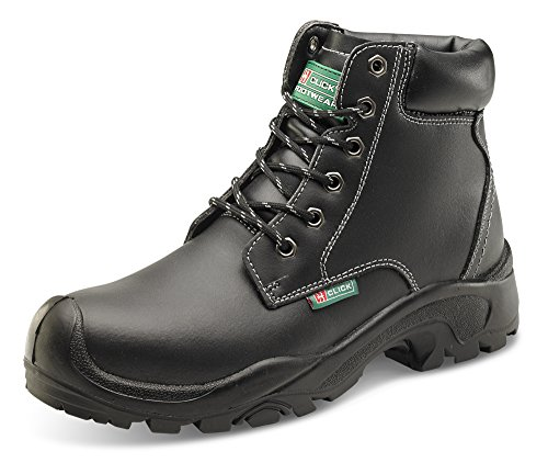 Click S3 Safety Boots Black Steel Toecap & Midsole, Water Resistant - Size 44/10 (Boot Safety Eyelet)