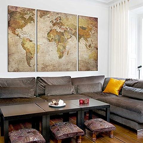 Leinwandbild Weltkarte Triptychon II Welt Karte Länder Erde Alt, Größe: 75cm x 113cm