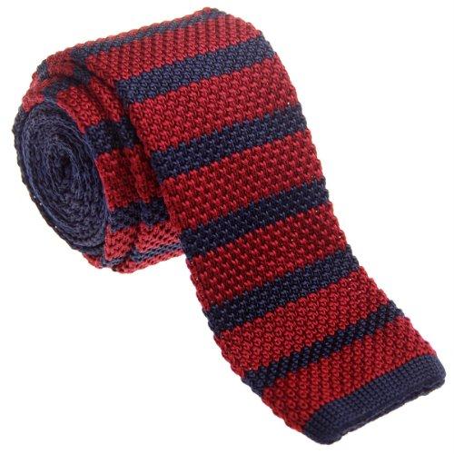 Retreez - corbata vintage de punto, elegante, informal, de 5 cm, para hombre –varios colores rojo Burgundy and Navy Blue Talla única