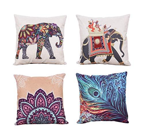 YUMU CASA 4 Fundas de Cojín Almohada Patrón de Elefante Estilo Tailandés...